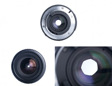 Front view of photo lens isolated on white