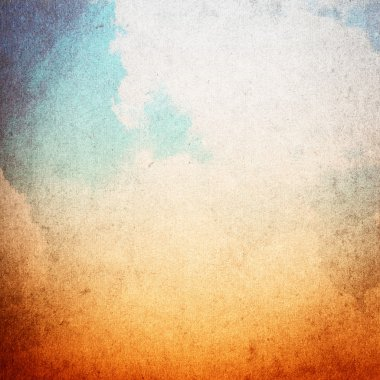 Blue and orange grunge sky texture, vintage background