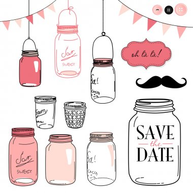 Glass Jars, frames and cute seamless backgrounds