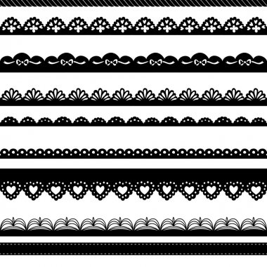Set of hand-drawn Lace Paper Punch Borders clip art vector