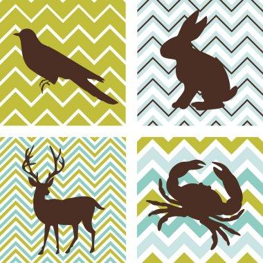 A set of 4 seamless retro patterns