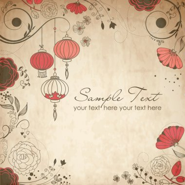 Chinese lanterns. Stylish floral background clip art vector