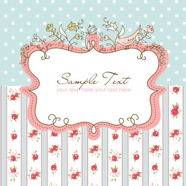Vector floral frame with a bird