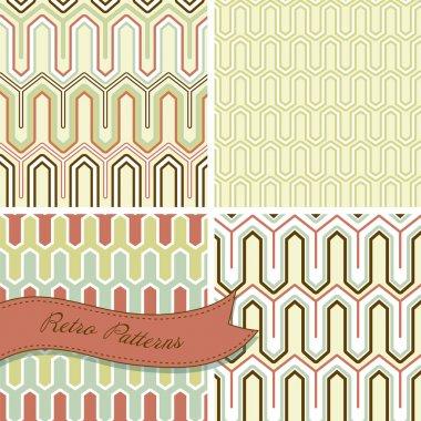 A set of seamless retro patterns. This stylish Mosaic