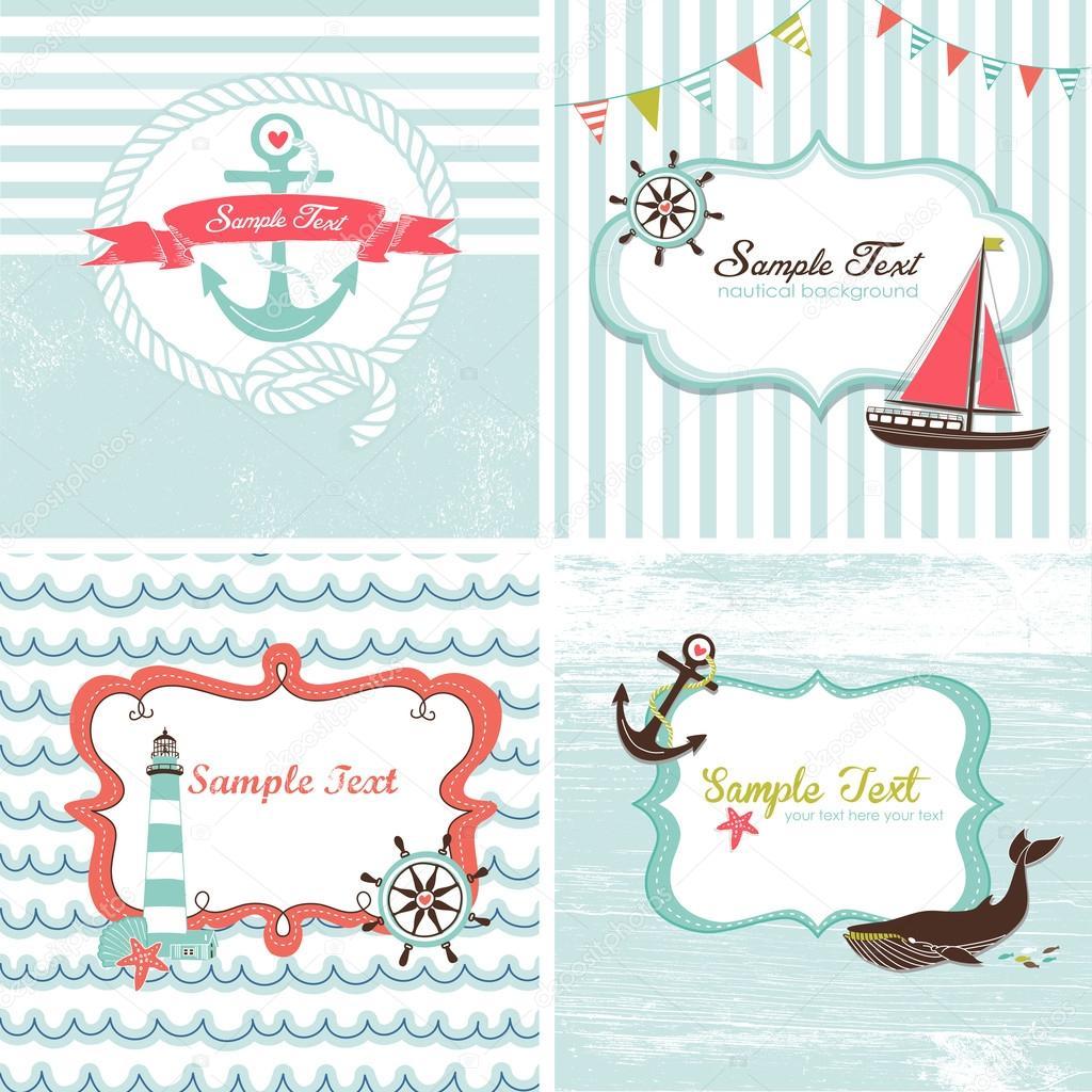 Set di 4 carte nautiche