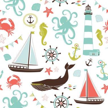 Retro Seamless Nautical pattern