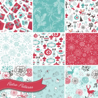Set of Christmas Seamless backgrounds clip art vector