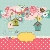 Fotografia case di sfondo bella primavera con uccelli, fiori e uccelli