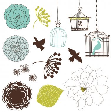 Set of birds, flowers and birdcages