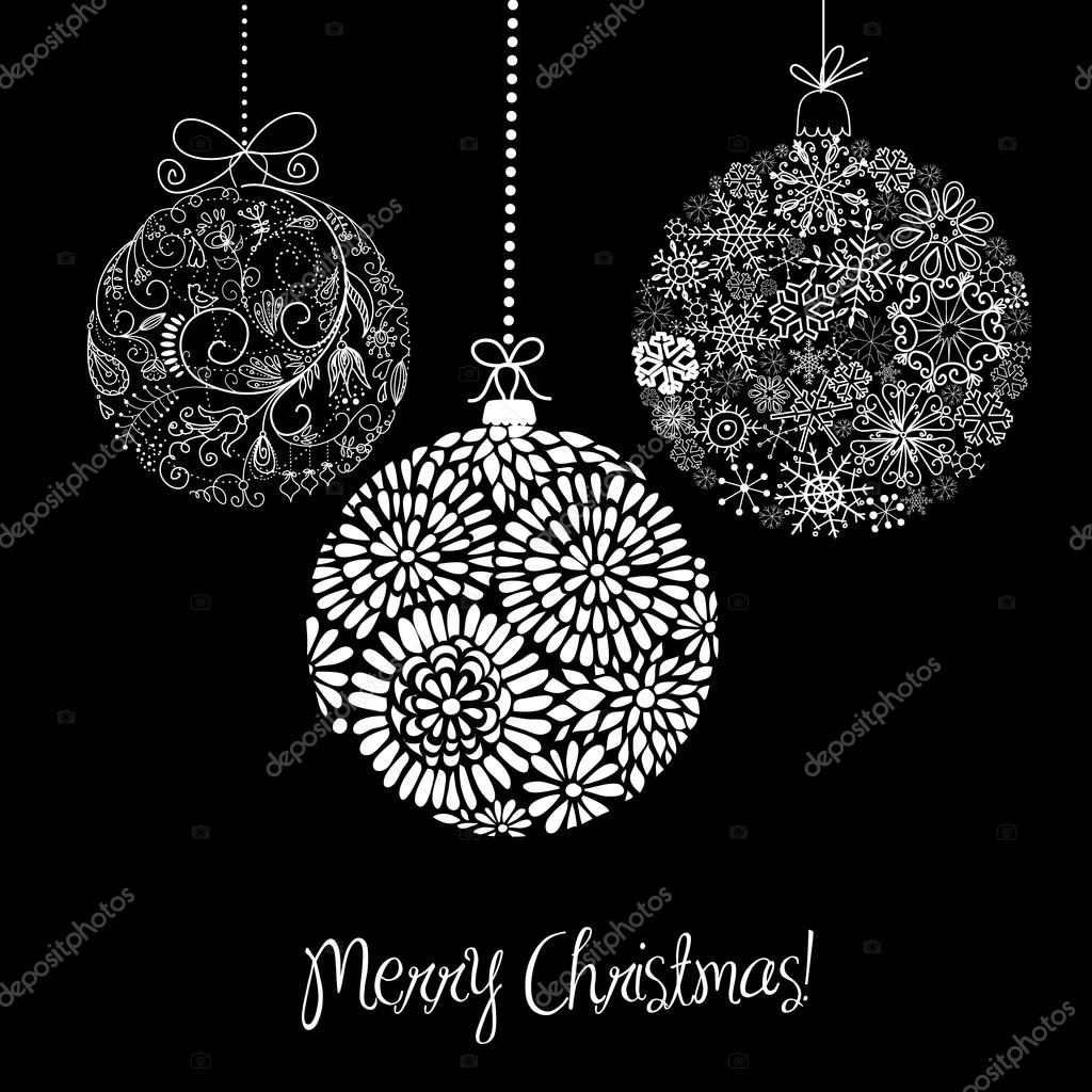 black and white christmas ornaments u2014 stock vector alisafoytik