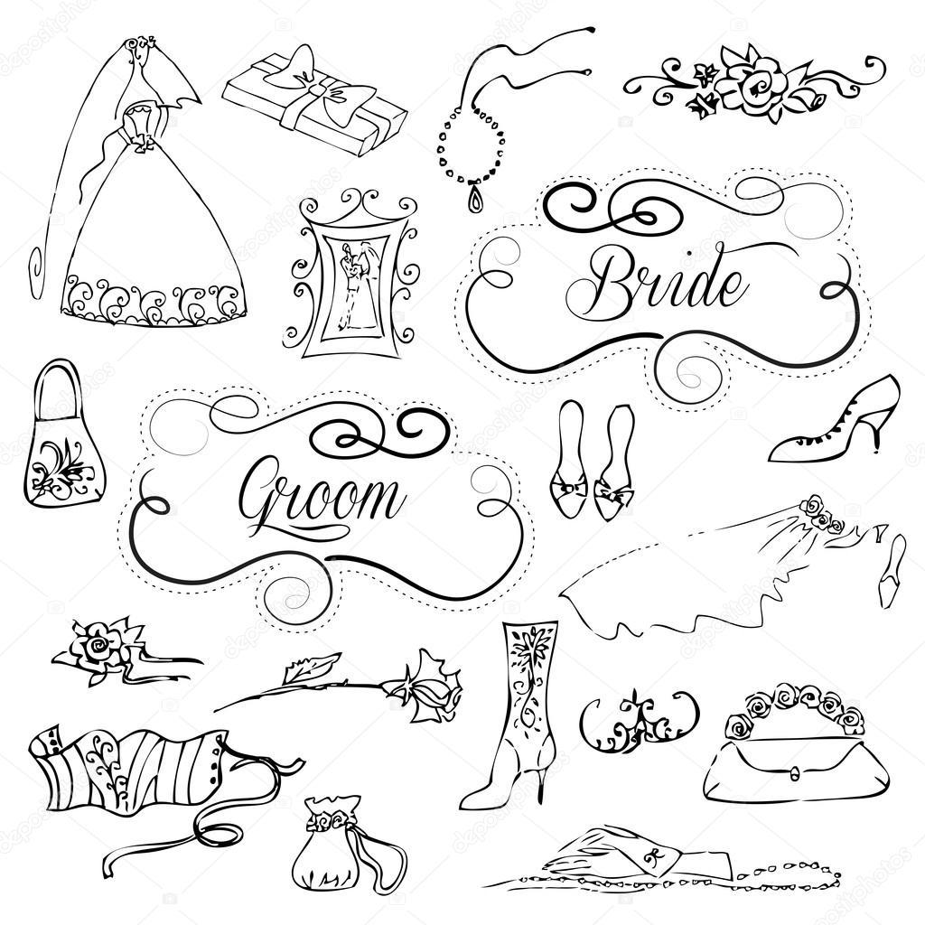 Hochzeit Set hübsch glamourösen Kritzeleien und Bilderrahmen ...