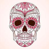 Fotografie Tag der Toten bunter Totenkopf mit floralem Ornament