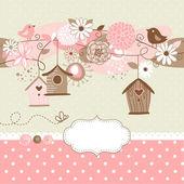 Fényképek Bird házak, madarak és virágok tavaszi háttér