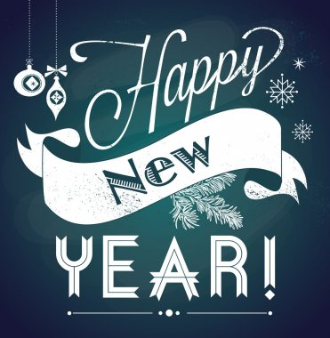 Chalkboard Happy New Year doodles