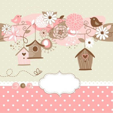 Spring background with bird houses, birds and flowers