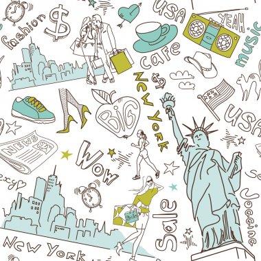 New York seamless doodles pattern