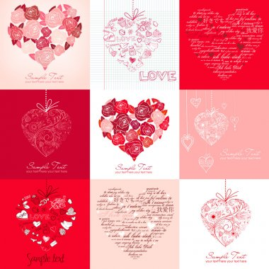 Greeting cards with hearts clip art vector
