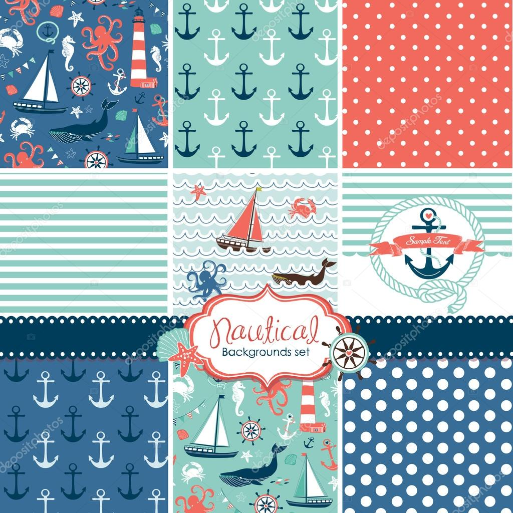 Set of 9 nautical backgrounds