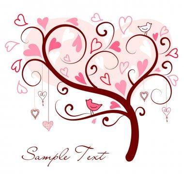 Love tree made of hearts