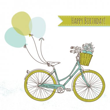 Birthday card. Bicycle with balloons
