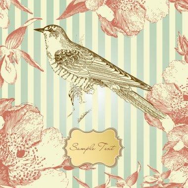 Vintage card with a bird
