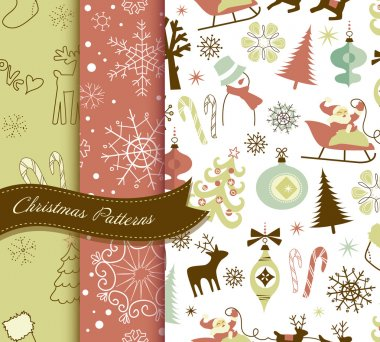 Set of Retro Christmas patterns clip art vector