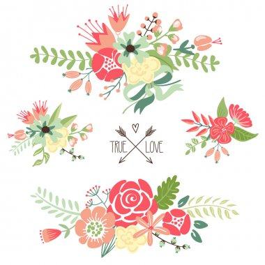 Bouquets, retro flowers