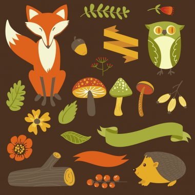 Autumn forest, woodland animals, flowers and ribbons stock vector