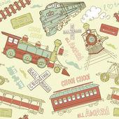 Fotografie Vintage trains and railroad doodles