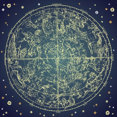 Vintage zodiac constellation of northen stars.