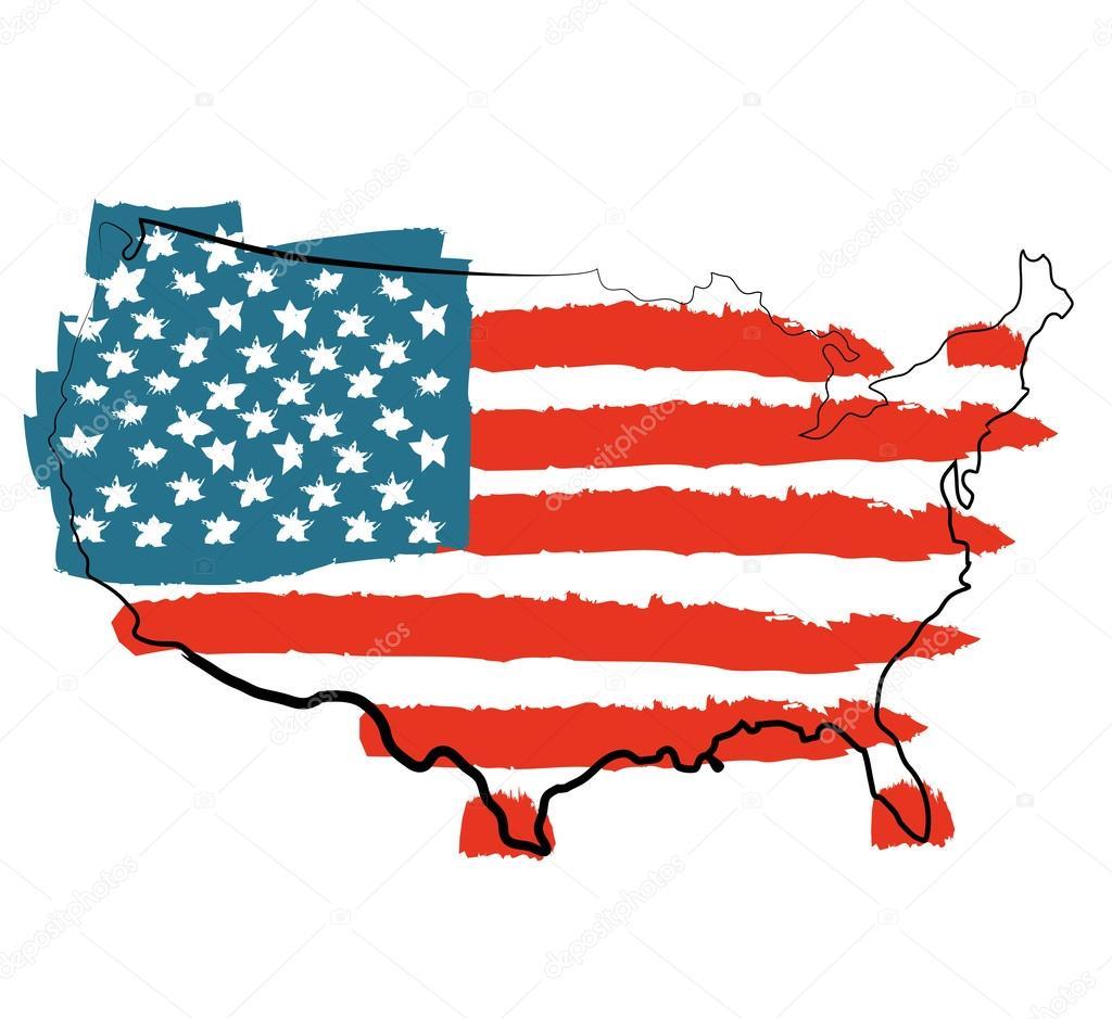 USA map with US flag — Stock Vector © AlisaFoytik #35500837