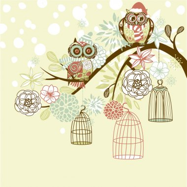 Owl winter floral background.