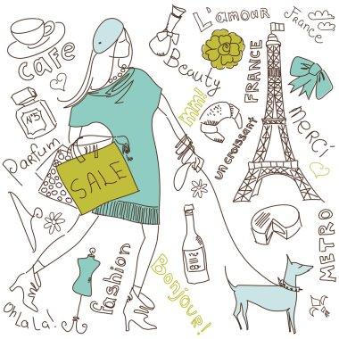 Love in Paris doodles clip art vector