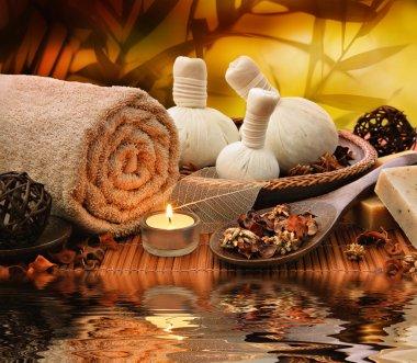 Spa massage setting at sunset