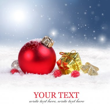 Christmas border background with red ornament