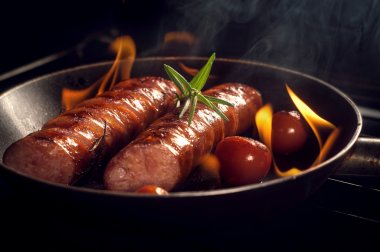 grilled sausage with cherry tomatoes