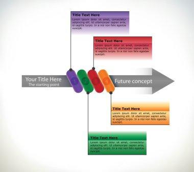 Presentation flow chart with arrow