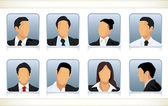 Photo Eight faceless heads of businesspeople