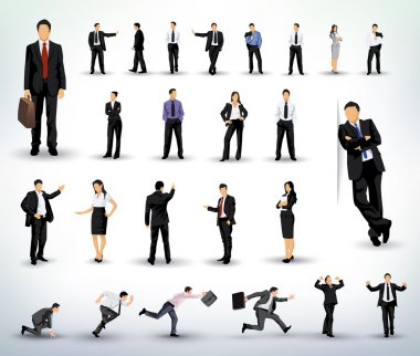 Collection of business illustrations in different poses stock vector