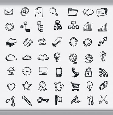 Collection of hand drawn icons