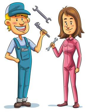 Mechanic, man and woman