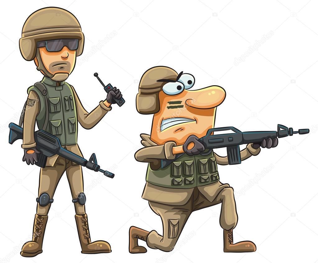 soldados do exército dos desenhos animados vetor de stock h4nk