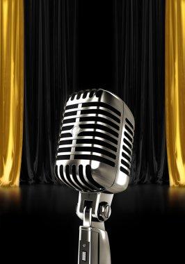 Glowing vintage microphone