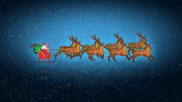 Santa s sobů se sněhem