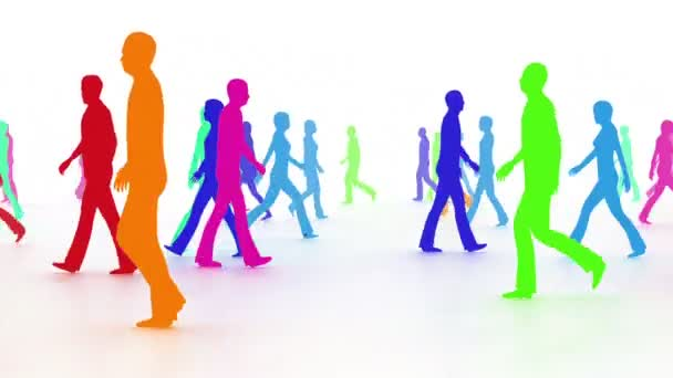 People in crowd in multiple colors