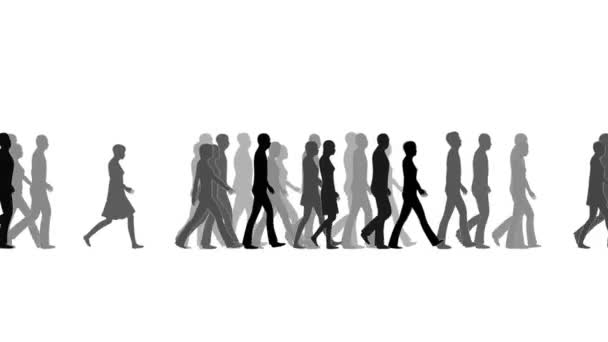 People walking in one direction