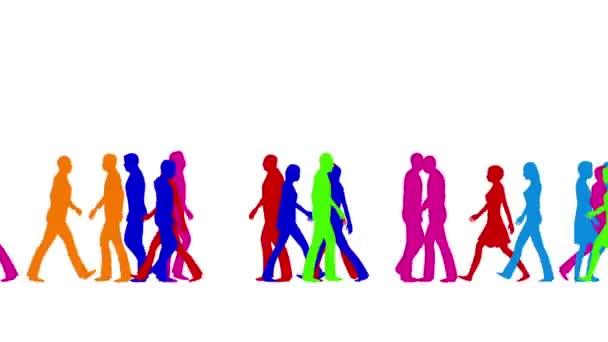 Menschen in Menschenmassen in vielen Farben