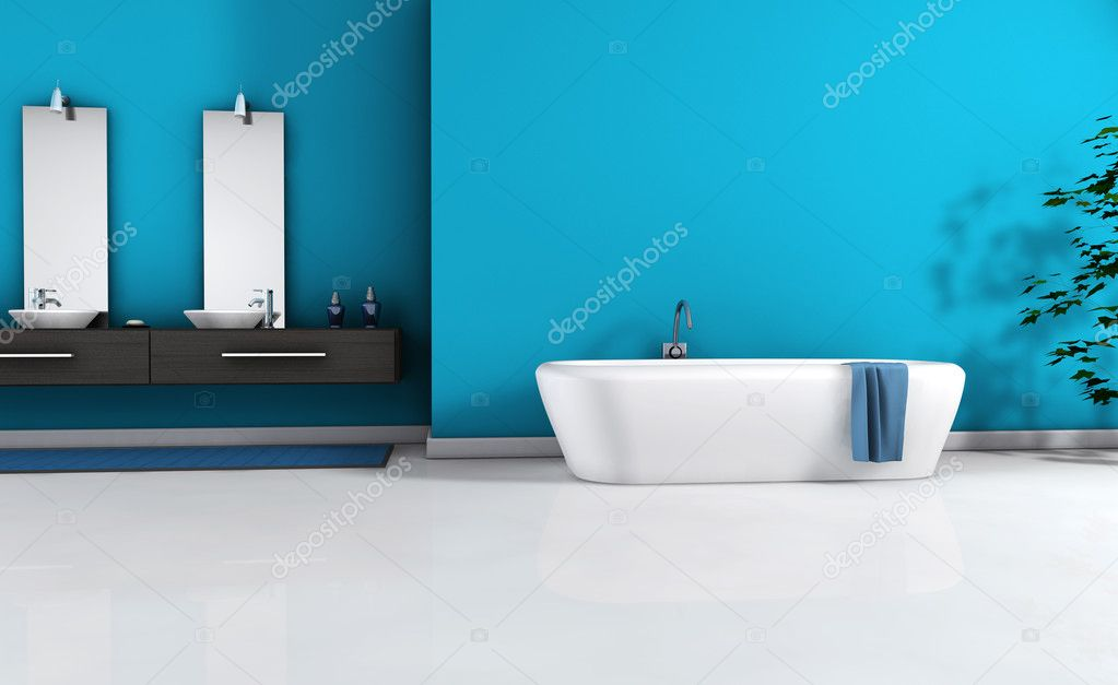 home interior view of a contemporary bathroom with modern design and furniture and empty space on wall for your copy colored in blue cyan black and white - Cyan Home Interior