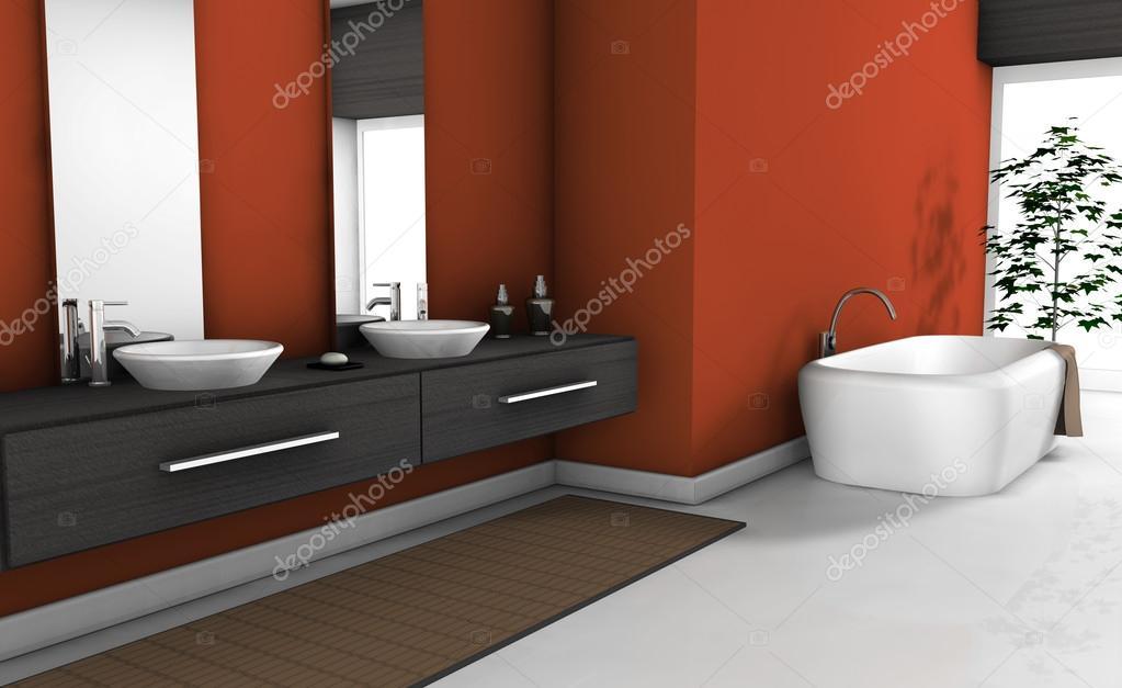 Moderne rode badkamer u stockfoto nirodesign