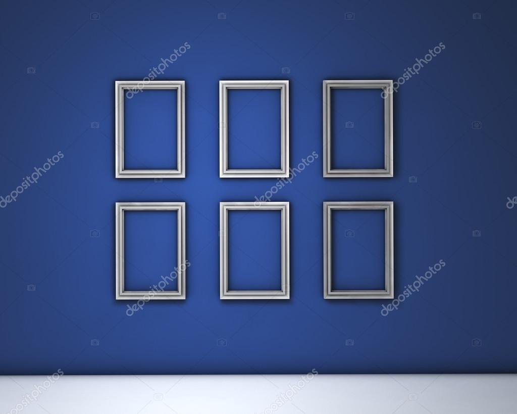 Marcos en blanco de pared azul — Foto de stock © NiroDesign #30005717